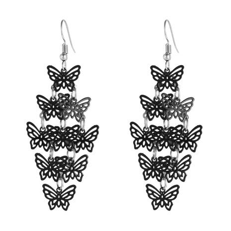 Großhandel Schmuck schwarz mehrschichtige Schmetterling Quaste Ohrringe nihaojewelry NHZU406251's discount tags