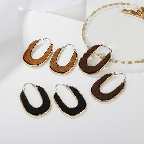 Großhandel Schmuck geometrische Spleißen Holzanhänger Ohrringe nihaojewelry NHAYN406339's discount tags