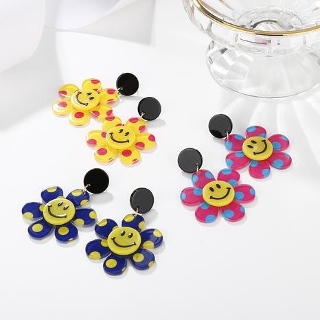 Großhandel Schmuck süße Smiley Blume Farbe Punkt Anhänger Ohrringe nihaojewelry NHAYN406341's discount tags