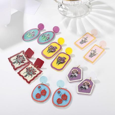 Großhandel Schmuck Blumenfarbe Graffiti gedruckte Anhänger Ohrringe nihaojewelry NHAYN406342's discount tags