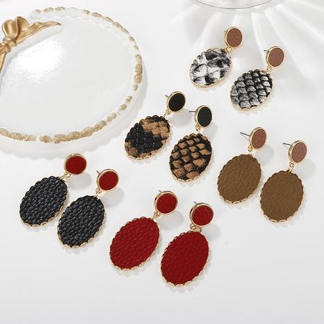Großhandel Schmuck geometrische unregelmäßige Muster Leopardenmuster Ohrringe nihaojewelry NHAYN406344's discount tags