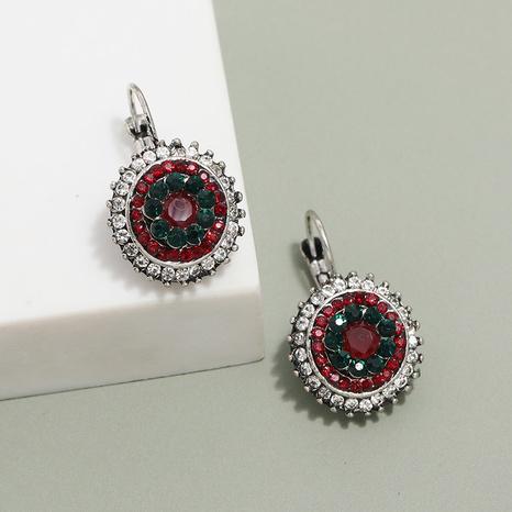 Großhandel Schmuck im ethnischen Stil voller Diamant Blume runde Anhänger Ohrringe nihaojewelry NHKQ406410's discount tags