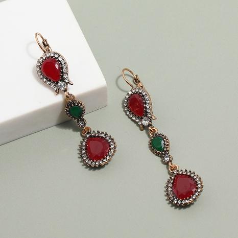 Großhandel Schmuck ethnischen Stil Farbe Edelstein Quaste Ohrringe nihaojewelry NHKQ406412's discount tags