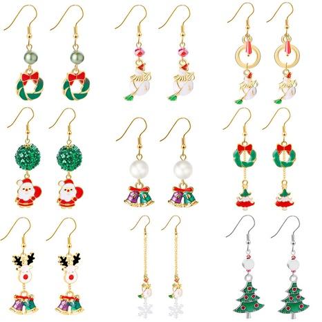 Mode Weihnachtsserie Weihnachtsmann Schneeflocke Kranz Ohrringe Großhandel Nihaojewelry NHCU406518's discount tags