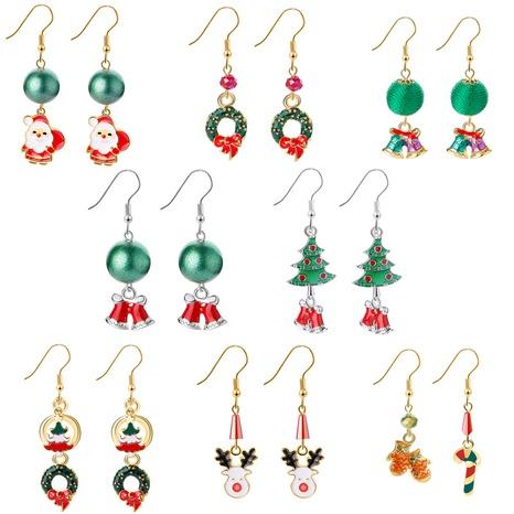 Weihnachten Elch Weihnachtsbaum Cartoon Glocke Weihnachtsmann Ohrringe Großhandel Nihaojewelry NHCU406519's discount tags