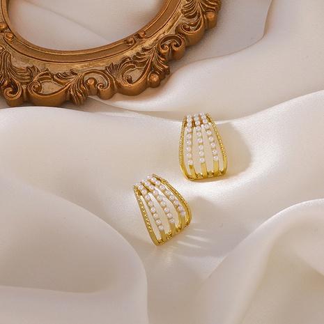 Großhandel Schmuck mehrschichtige Bogenperlenohrstecker nihaojewelry NHMS406558's discount tags