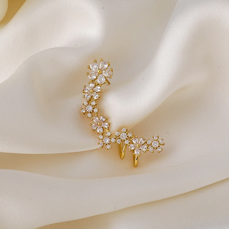Großhandel schmuck gebogen kupfer eingelegte blume zirkon ohr knochenclip nihaojewelry NHMS406578's discount tags