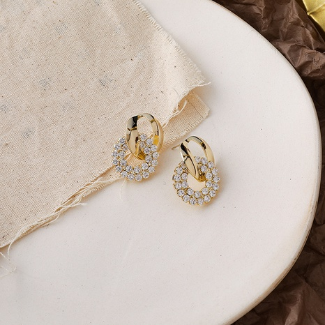 wholesale jewelry hollow double circle inlaid diamonds pendant earrings nihaojewelry  NHMS406579's discount tags