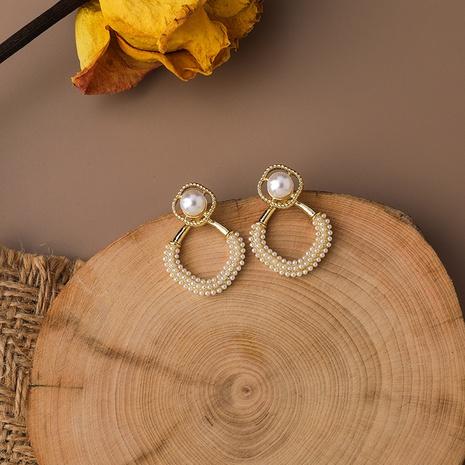 Großhandel Schmuck hohles Quadrat voller Perlenanhänger Ohrringe nihaojewelry NHMS406580's discount tags