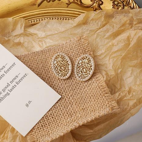 wholesale jewelry hollow flower oval stud earrings nihaojewelry  NHMS406581's discount tags