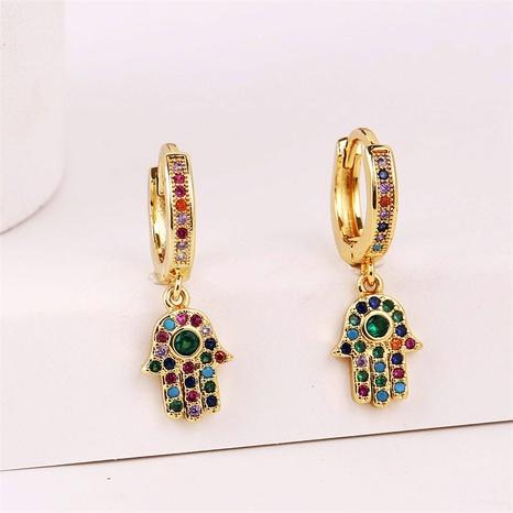 Koreanische Kupfer eingelegte Zirkoniumpalmenohrringe Großhandel Nihaojewelry NHYUT406745's discount tags