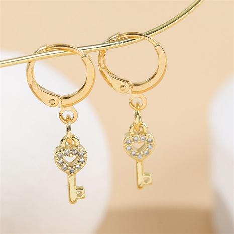 Koreanische Kupfer eingelegte Zirkoniumschlüsselohrringe Großhandel Nihaojewelry NHYUT406759's discount tags