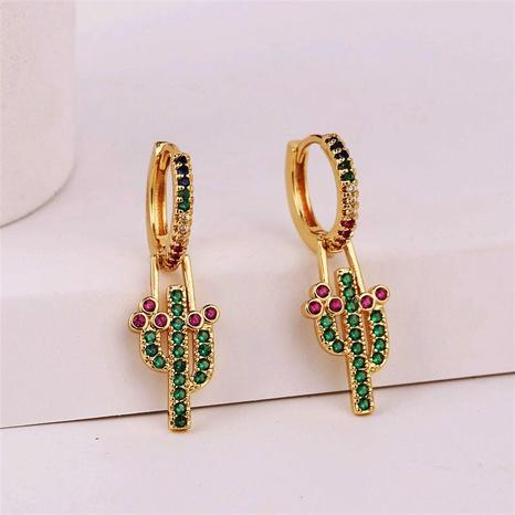 Koreanische kupfer eingelegte Zirkonium-Pflanzenkaktus-Ohrringe Großhandel Nihaojewelry NHYUT406760's discount tags