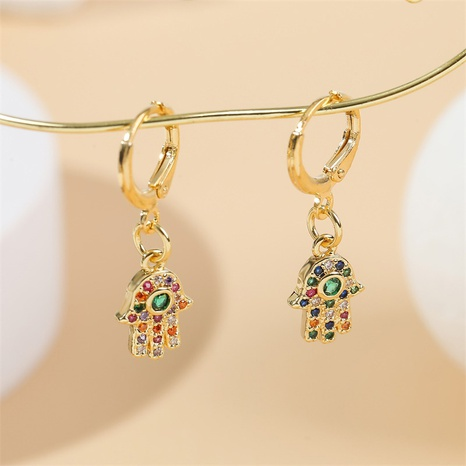 einfache kupfer eingelegte Zirkoniumpalme vergoldete Ohrringe Großhandel Nihaojewelry NHYUT406761's discount tags