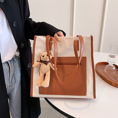 large-capacity simple casual canvas contrast color one-shoulder tote bag wholesale nihaojewelry NHTG406956's discount tags