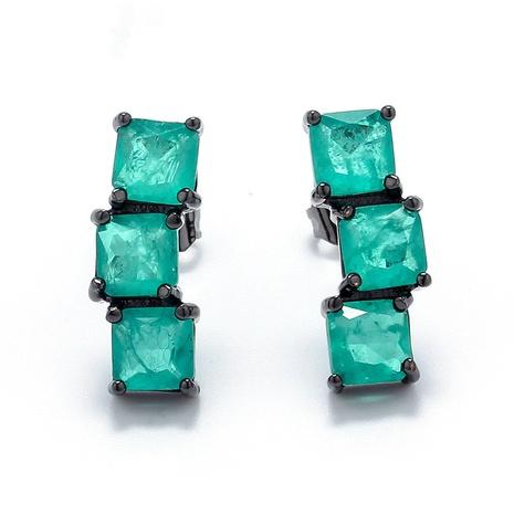 Mode neue Zirkon Farbe Quadrat Kristall Kupfer Ohrringe Großhandel nihaojewelry NHWG407040's discount tags