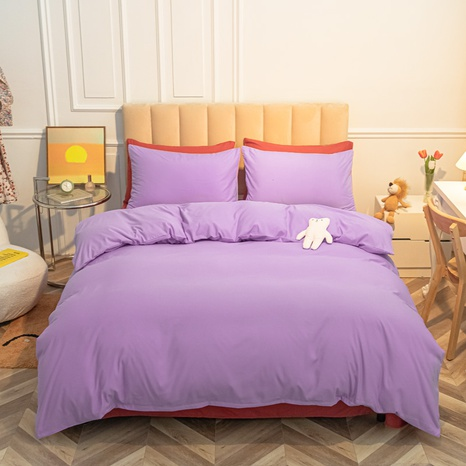 Reine Farbe lila rot gebürstet einfache Bettwäsche-Set Großhandel Nihaojewelry NHMAR407048's discount tags