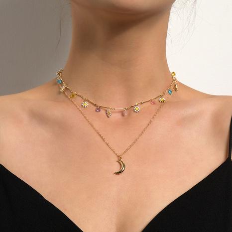 Retro Mond Anhänger Blume Diamant kurze Schlüsselbeinkette Großhandel Nihaojewelry NHQC407635's discount tags
