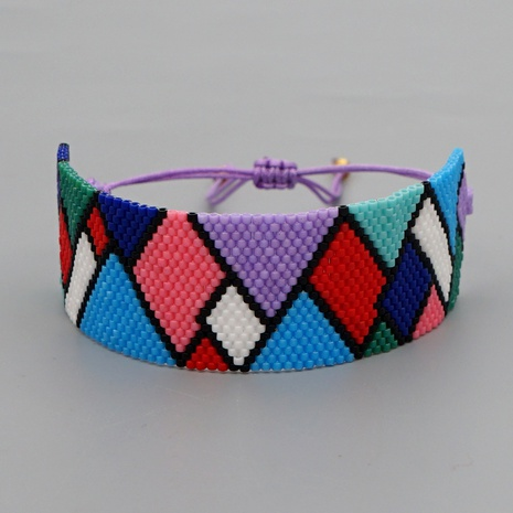 color rhombus miyuki beads hand-woven classic wide bracelet wholesale jewelry Nihaojewelry NHBDB395488's discount tags