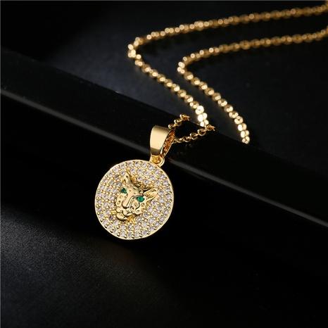 collier en cuivre zircon micro-incrusté léopard à la mode en gros nihaojewelry NHFMO395532's discount tags