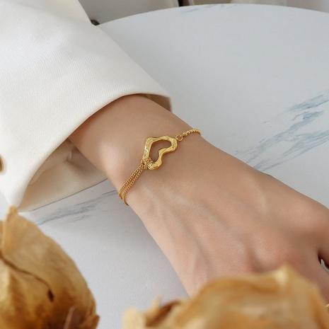 Titane acier coeur pêche double couche chaîne en acier boule bracelet en gros bijoux Nihaojewelry NHOK395665's discount tags