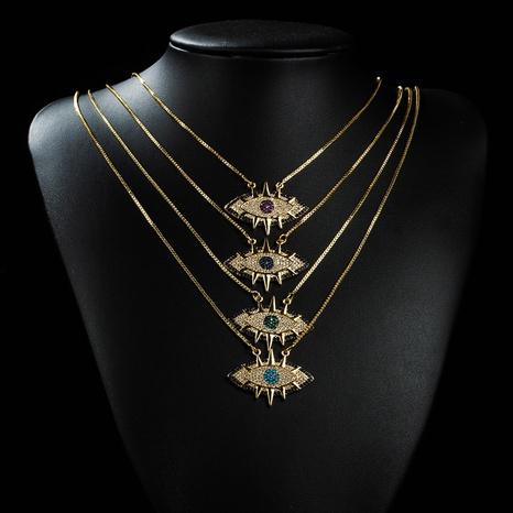 Nouveau collier de Zircon incrusté de cuivre pour les yeux créatifs de mode en gros Nihaojewelry NHYIS395684's discount tags