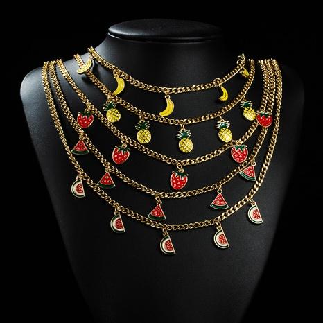Collier de cuivre d'huile de goutte de fruit multicolore simple coréen 18K en gros nihaojewelry NHYIS395687's discount tags