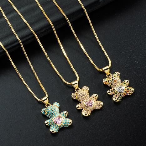 corée simple amour ours pendentif cuivre incrusté de zircon collier en gros nihaojewelry NHYIS395688's discount tags