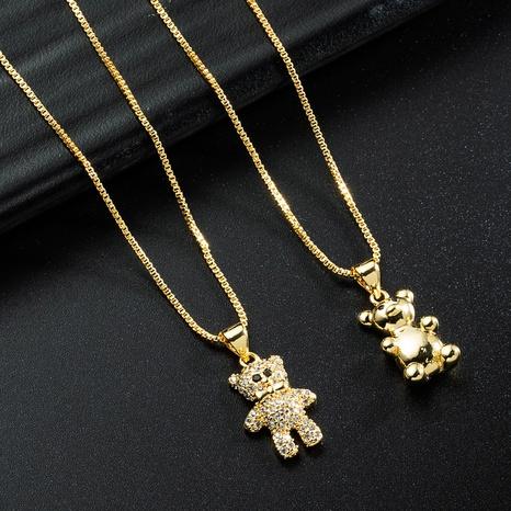 corée simple ours doré collier de zircon incrusté de cuivre en gros nihaojewelry NHYIS395689's discount tags