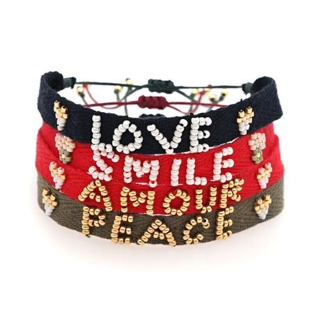 Miyuki bead braided LOVE letter ribbon bracelet wholesale jewelry Nihaojewelry NHGW395709's discount tags