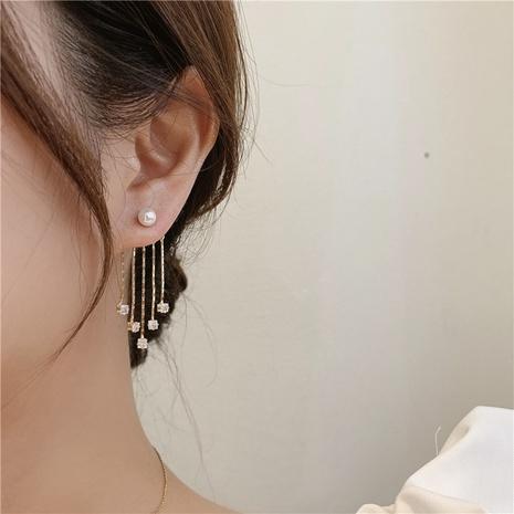 wholesale Boucles d'oreilles en cuivre avec gland en zircon et perle coréenne Nihaojewelry NHMS395726's discount tags
