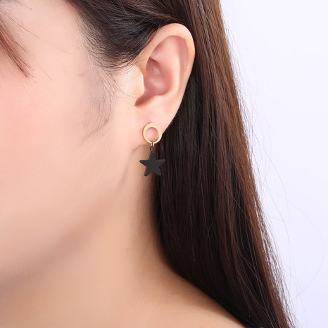 wholesale Boucles d'oreilles en or rose en acier titane et étoile à cinq branches coréennes noires Nihaojewelry NHLIZ395749's discount tags