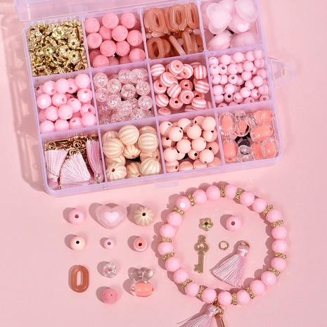 Rosa Perlen Kaninchenkopf DIY Armband Material Box 12 Gitter Set Zubehör Großhandel Nihaojewelry NHLL395790's discount tags