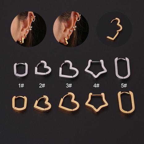 Großhandel Schmuck hohle geometrische Herz Sternform Edelstahl Ohrringe nihaojewelry NHEN396116's discount tags