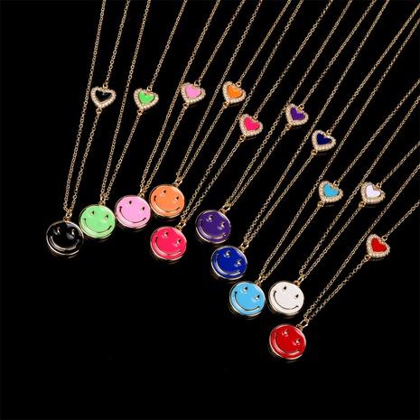 wholesale bijoux smiley dégoulinant d'huile pendentif collier en cuivre nihaojewelry NHPY396143's discount tags