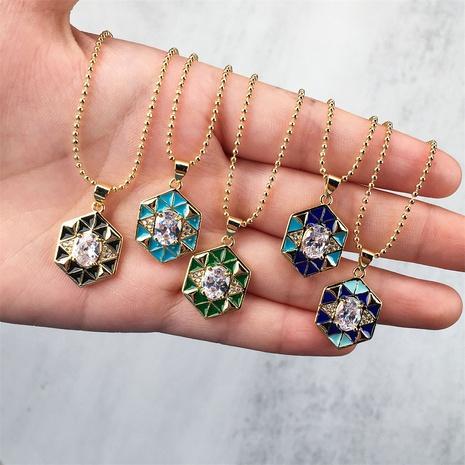wholesale bijoux géométrique gouttes d'huile pendentif collier de zircon incrusté de cuivre nihaojewelry NHPY396144's discount tags