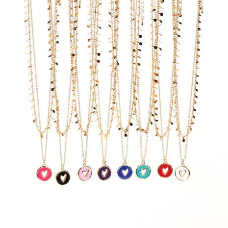 wholesale bijoux coeur creux pendentif rond cuivre double couche collier nihaojewelry NHPY396145's discount tags