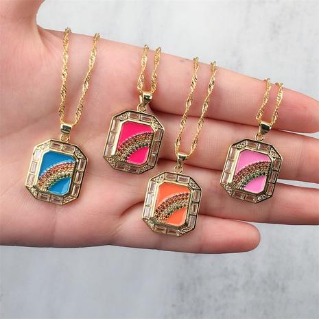 wholesale bijoux pendentif arc-en-ciel carré incrusté de cuivre couleur zircon collier nihaojewelry NHPY396146's discount tags