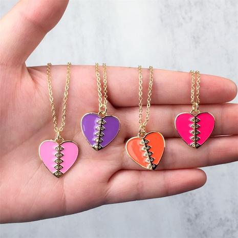 wholesale bijoux en forme de coeur dégoulinant d'huile pendentif en cuivre incrusté de zircon collier nihaojewelry NHPY396149's discount tags