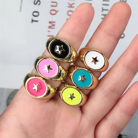 wholesale anneau ouvert étoile de cuivre rétro huile goutte à goutte Nihaojewelry NHPY396150's discount tags