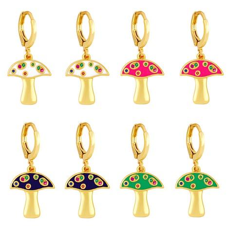 wholesale boucles d'oreilles gouttes d'huile de zircon couleur petit champignon simples Nihaojewelry NHAS396226's discount tags