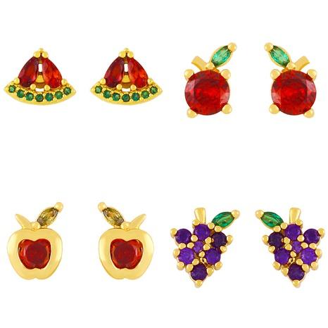 Vente en gros jolies boucles d'oreilles en cuivre avec zircon et fruits tropicaux nihaojewelry NHAS396227's discount tags