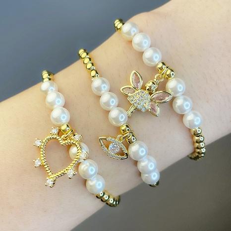 ours coeur oeil abeille ligne élastique perle ronde perle bracelet en gros bijoux Nihaojewelry NHAS396228's discount tags