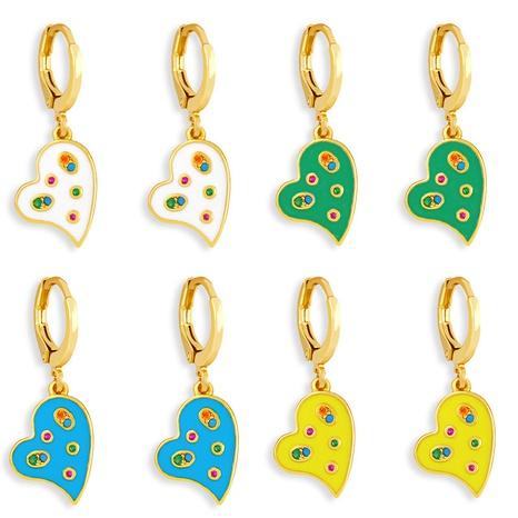 wholesale boucles d'oreilles en zircon incrustées de couleur huile en forme de coeur de mode Nihaojewelry NHAS396229's discount tags