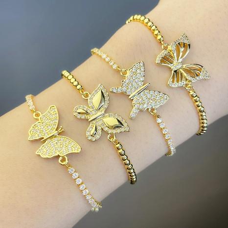Bracelet réglable papillon incrusté de zircon bijoux en gros Nihaojewelry NHAS396232's discount tags