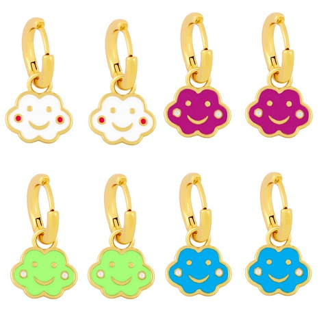 wholesale joli nuage visage souriant bleu orange boucles d'oreilles en cuivre goutte d'huile Nihaojewelry NHAS396233's discount tags