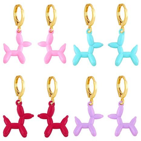 vente en gros boucles d'oreilles en cuivre pour chien ballon coloré rétro géométrique Nihaojewelry NHAS396235's discount tags