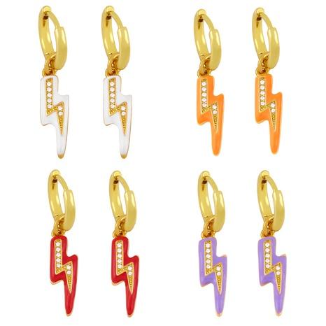 wholesale nouvelles boucles d'oreilles à l'huile de goutte de foudre en zircon incrusté de cuivre Nihaojewelry NHAS396236's discount tags