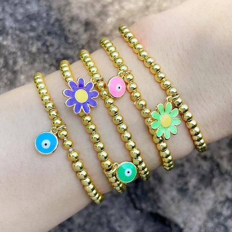 oeil fleur mode perle ronde bracelet élastique en gros bijoux Nihaojewelry NHAS396245's discount tags