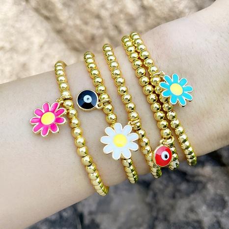 marguerite fleur oeil perle ronde style ethnique bracelet élastique en gros bijoux Nihaojewelry NHAS396246's discount tags